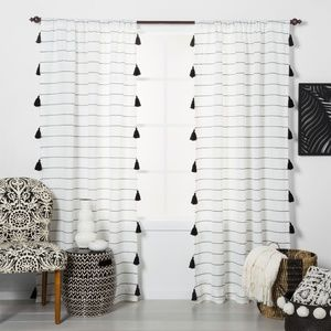 Contrast Stripe Light Filtering Curtain Panels